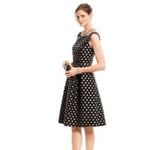 Talbots Gold and Black Polka Dot Fit & Flare Dress